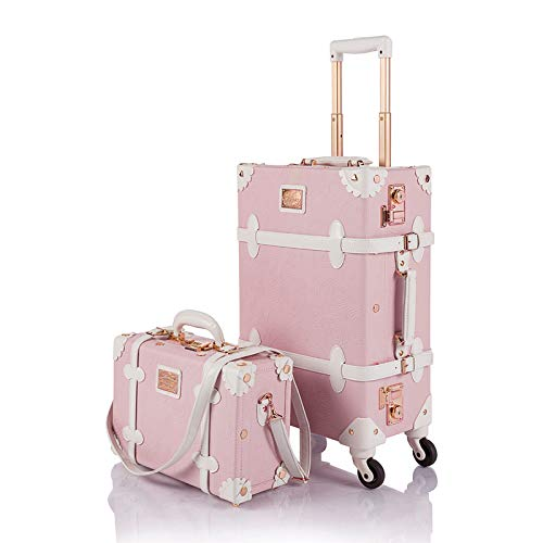 COTRUNKAGE Vintage Trunk Luggage Set TSA Lock Carry On Suitcase for Women (13' & 20', Embossed Pink)