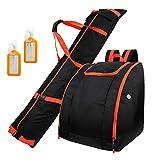 Zacro Skisack und Skischuhtasche Kombi Set mit 2 Gepäckanhängern, Geeignet für Reisen, Männer,...