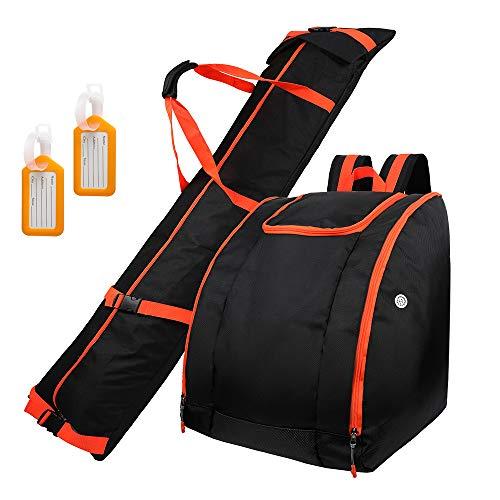 Zacro Skisack und Skischuhtasche Kombi Set mit 2 Gepäckanhängern, Geeignet für Reisen, Männer, Frauen und Jugendliche