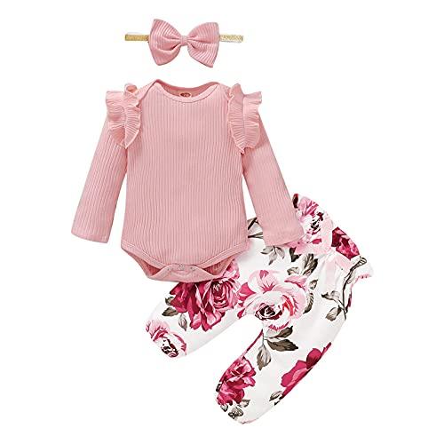 2pcs Infantil Bebé Niñas Ropa Conjuntos Rosa Impresión Manga Larga Tops Encapuchado + Rosa Pantalones (12-18 Meses, C)
