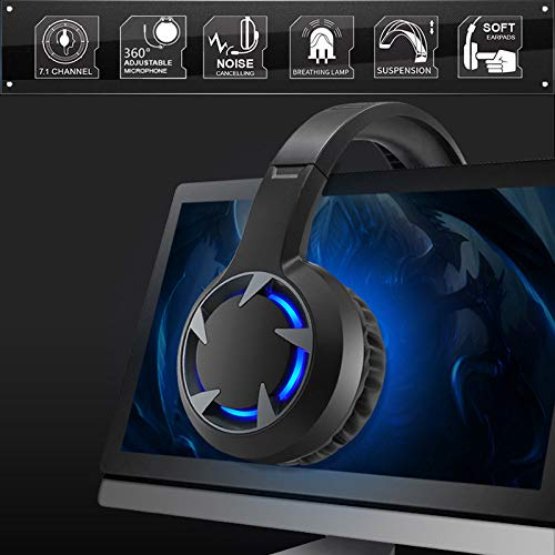 Best Choice Gaming Headset Stereo Deep Bass Wired Headphones with Mic Backlit for PC PS4 Phone Laptop
