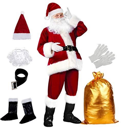 Christmas Santa Claus Costume with Beards Santa Suit Adult Men Deluxe 19 PCS Complete Deluxe Santa Outfit Set Halloween Cosplay Premium Velvet Wine Red