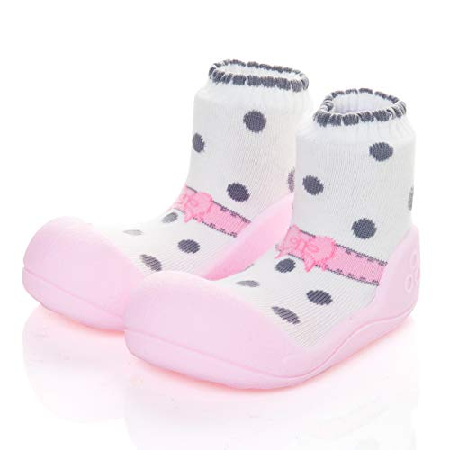 [Attipas] AB02-Pink [ バレエ [アティパス ] ベビーシューズ L(12.5cm):2.ピンク/かわいいベビーシューズ 滑り止め 公園遊び 出産祝い プレゼント あんよの練習 保育園靴 ソックスシューズ プレシューズ 室内履き 女の子