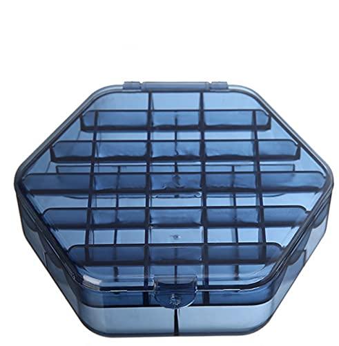 Joyero De Doble Capa Caja De Almacenamiento De Gran Capacidad Con Tapa 16 * 9 * 5 Cm Color Café + Azul 2 Piezas