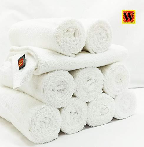 Westlane Linens 10 Piezas de Toallas de peluquería 100% algodón Resistentes al Cloro, Blancas, 50x90cm Toalla de Mano