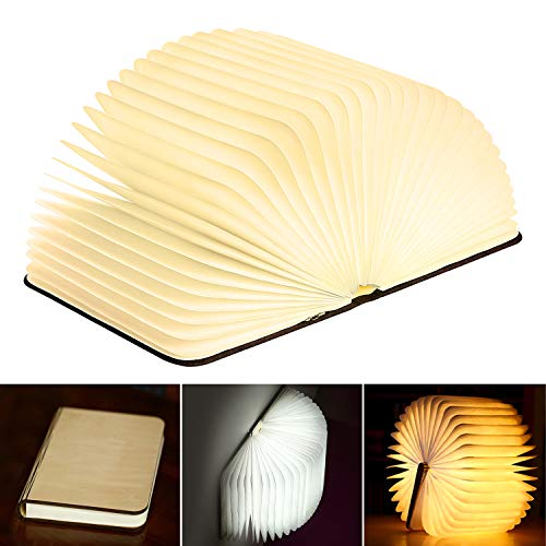 Folding Book Lamp, KKTICK Wooden Book Light USB Rechargeable Book Shaped Lamp 3 Colors, Novelty Desk Table Lamp LED Night Light for Decor, Magnetic Design, Creative Gift (6.5 x 5.0 x 1.0 inch)