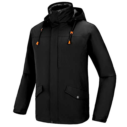 CAMEL Men's 3 in 1 Ski Jacket Waterproof with Reversible Warm Fleece Jacket Detachable Hooded Outdoor Snow Coat