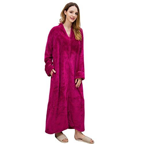 Invierno Cremallera mariscos Albornoz Terciopelo camisón Hombres Engrosamiento Pijamas Franela Servicio a Domicilio, como Imagen, M