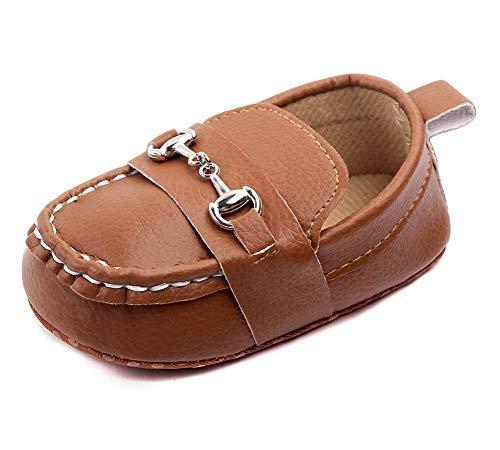 LONSOEN Baby Girls Boys Loafers Prewalker Moccasin Crib Shoes,BAY208 Brown 6-12 Months Infant