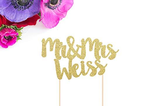 Tortenaufsatz Mr & Mrs mit Glitzer, personalisierbar, für Hochzeitstorten