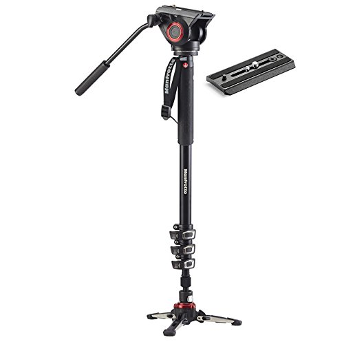 ZAYKIR Manfrotto Xpro Aluminum Video Monopod with 500 Series Video Head, with Extra Video Plate
