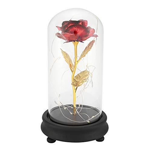 Yosooo Preserved Rose Flower - Lámpara LED (bañada en Oro de 24 Quilates, con Base de Cristal, Regalo de Boda para el día de San Valentín)