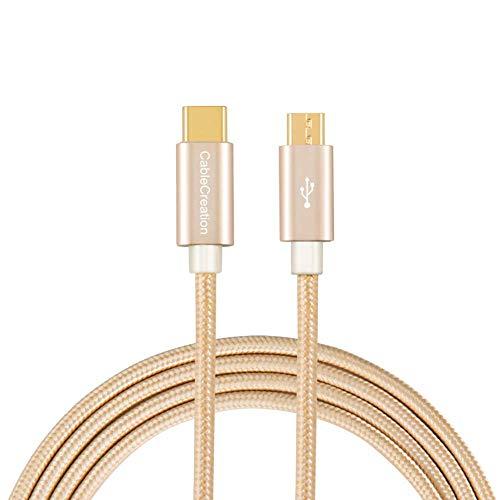 CableCreation oro USB3.1 Tipo C (USB-C) per USB 2.0 Micro USB maschio cavo, Micro USB 3.1 USB-C per Apple MacBook, Chromebook Pixel e più, 4ft in Gold