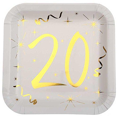 Chal - 10 Assiettes anniversaire 20 ans blanc et or