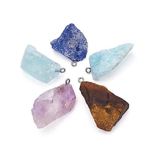 Beadthoven - 5 colgantes de piedras preciosas naturales irregulares, 5 estilos, piedras crudas con lazos de acero inoxidable para collares, pendientes, pulseras, agujero para hacer joyas, 2 mm