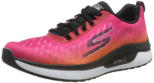 Skechers Women's GO Run Steady Trainers, Black (Black Textile/Hot Pink Trim BKHP), 8 (41 EU)
