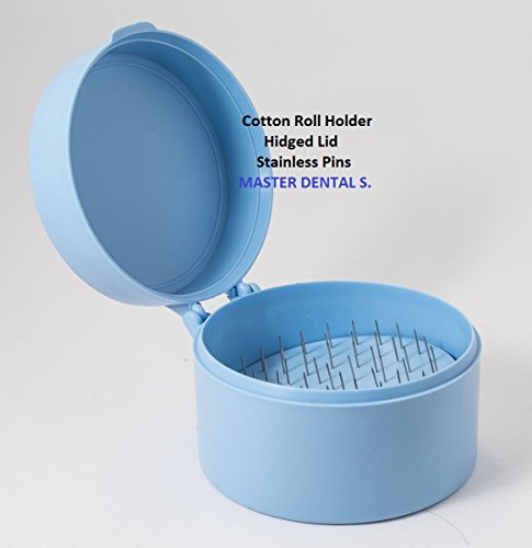 Dental Cotton Roll Dispenser Holder Organizer Case Roun Blue with Hinged Lid and Stainless Pins