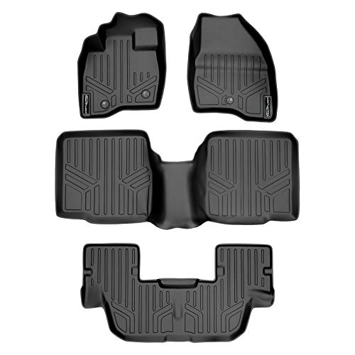 SMARTLINER Custom Fit Floor Mats 3 Row Liner Set Black for 2017-2019 Ford Explorer Without 2nd Row Center Console