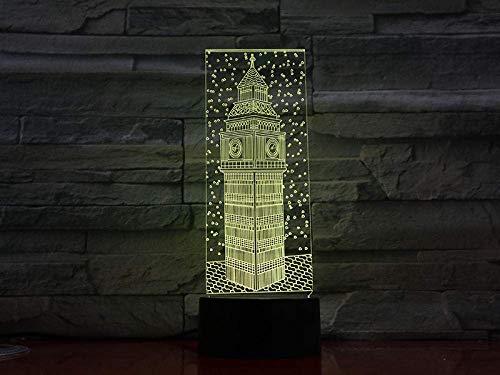 3D Phantom Light Led Night Light Big Ben Colorido Visión Londres Elizabeth Edificio Torre Lámpara de Mesa Bebé Dormir Regalo