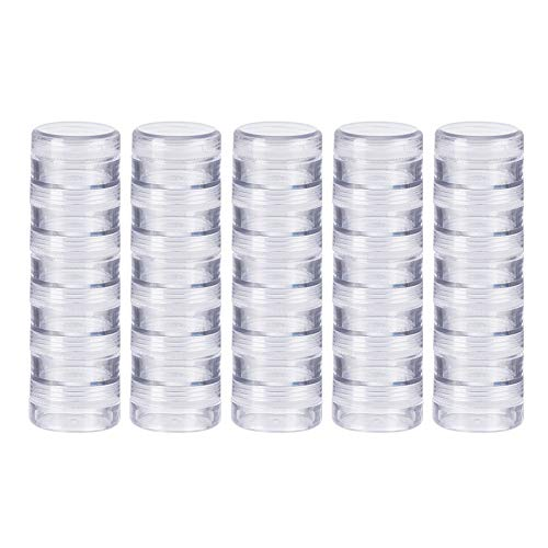 BENECREAT 10G/10ML Stackable Round Plastic Containers 5 Column(6 Layer/Column) Bead Storage Jars for Beads, Buttons, Crafts and Small Findings