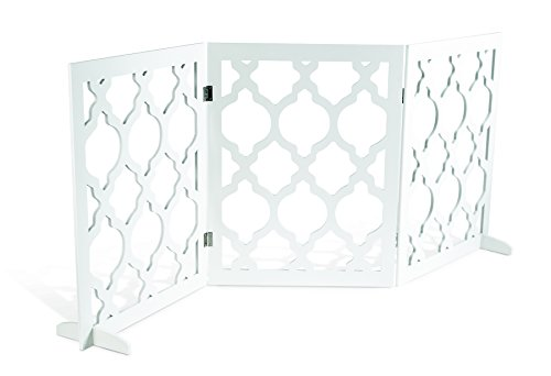 Pet Parade Decorative Pet Gate Indoor amp Outdoor Use Opens to 555quot L x 035quot W x 24quot H When Assembled Includes Feet For Stability Blends in With Home Decor