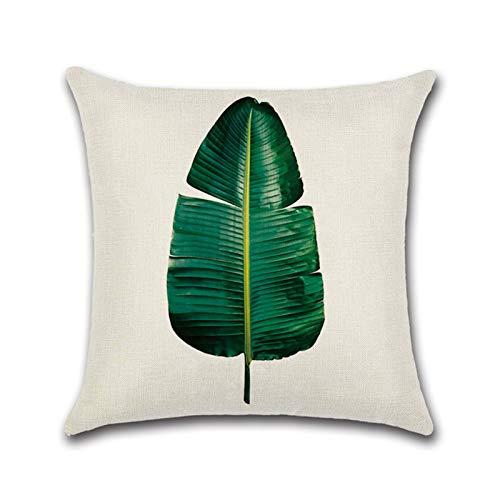 nlgzklsh Funda de cojín de Lino de Estilo Tropical Cuadrado con Estampado de Plantas Verdes de 45 * 45 cm para Accesorios de sofá