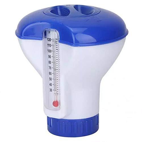 Taohou Dispensador Flotante de tabletas de Cloro químico Soporte de tabletas de bromo Automático-Azul y Blanco