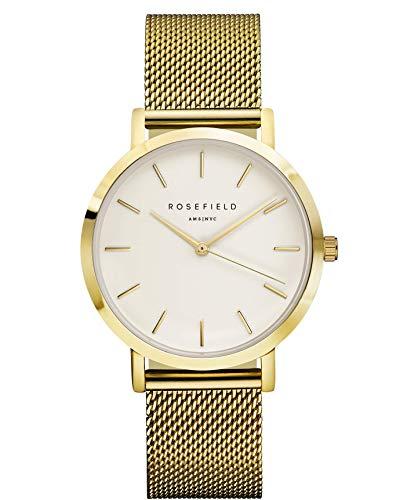 ROSEFIELD AMS/NYC 'MERCER' White/Gold MESH STRAP WATCH - MWG-M41