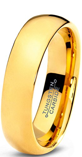 Charming Jewelers Tungsten Wedding Band Ring 5mm for Men Women Comfort Fit 18K Yellow Gold Plated Plated Domed Polished Size 10.5