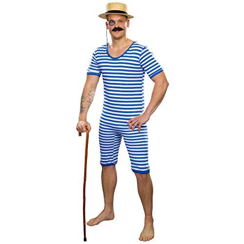 Amakando 20er Jahre Badeanzug Herren / Blau-Weiß in Größe XL (56/58) / Männerbadeanzug mit Streifen / EIN Blickfang zu Fasching & Karneval