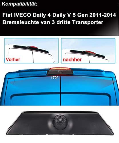 Kalakus Auto Terzo tetto Top Mount Lampada freno Fotocamera luce retromarcia telecamera per FIAT IVECO Daily 4 Gen 2011-201