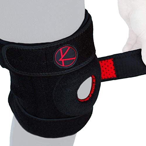Adjustable Knee Brace Support - Plus Size Knee Brace for ACL, MCL, LCL, Sports, Meniscus Tear. Open Patella Knee Brace for Arthritis Pain and Support for Women, Men, Youth (4XL / 5XL / 6XL Black)