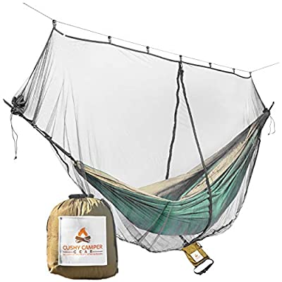 Cushy Camper Hammock Bug Net/Hammock Mosquito Net 11'x4.75' Dual Side Opening - Single/Double Hammocks: Camping Gear: Ultralight Bug Proof Netting - Insect/Fly Screen Shelter Hammocking Accessories