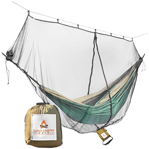 Cushy Camper Hammock Bug Net/Hammock Mosquito Net 11'x4.75' Dual Side Opening - Single/Double...