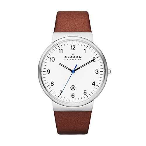 Skagen Men's Ancher Quartz Analog Stainless Steel and Leather Watch, Color: Silver/Brown (Model:...