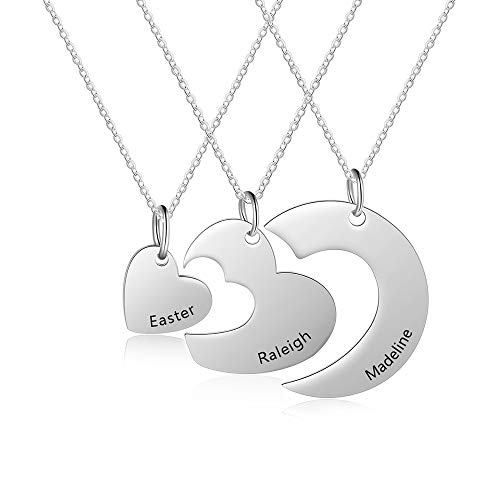 ROSI Personalized Custom Necklace Set of 3 Matching Heart Puzzle 3 Piece Necklace Jewely for Best Relationship (SILVER)
