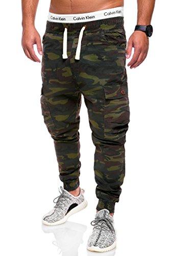 behype. Herren Camouflage Cargo Jeans-Hose Jogg 80-3188 Camouflage Khaki 32