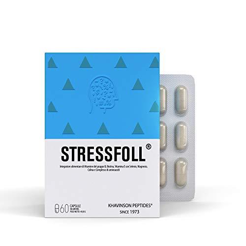 Stressfoll es un Complemento Alimenticio Peptídico con Vitaminas E, B1, B2, B3, B6, B12, D-Biotina, Selenio, Magnesio, Colina y sirve de Apoyo al Sistema Nervioso Central – 60 Cápsulas