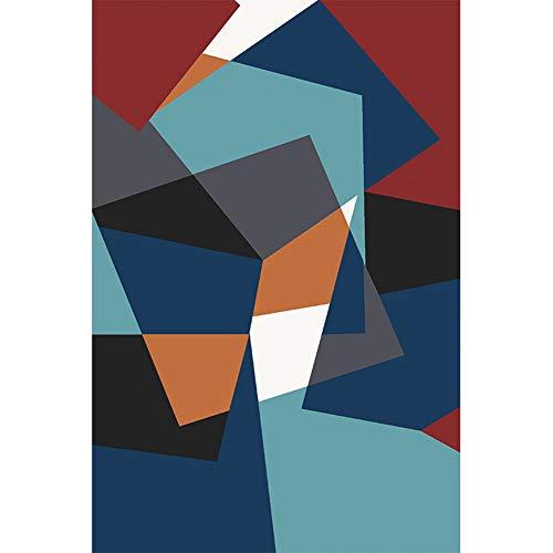 ZGYZ Salon Tapis Moderne Classique, antidérapant Home Tapis Couture de Couleur Chambre à Coucher carpettes décorative Couverture,Rouge Bleu Blanc et Noir,120×160