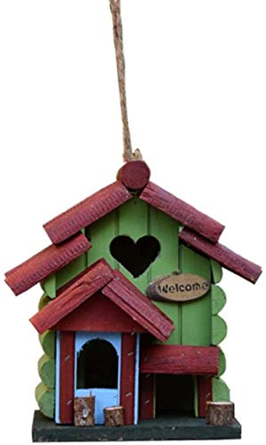 Goo-ki Oiseaux Nids for Cages Rétro Steeple Creative Bois en Plein air Birdhouse Bird House Country Style Outdoor Hanging Décoration Cottages Bird House for Les Petites Oiseaux Cabin Birdhouse