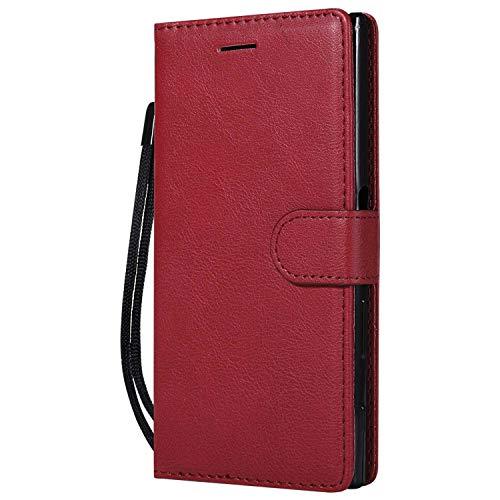 DENDICO Coque Sony Xperia XZ/XZs, PU en Cuir Coque Portefeuille Étui Housse, Design Classique TPU Coque pour Sony Xperia XZ/XZs - Rouge