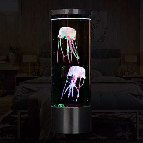Domeilleur Quallen Tischlampe, The Calm Ocean Simulation Aquarium Zylindrisches Aquarium Licht USB Plug-In LED Quallen Licht Bunte Farbwechsel