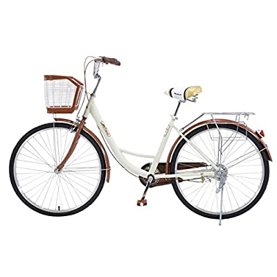 26 Inch Classic Bicycle Retro Bicycle Beach Cruiser Bicycle Retro Bicycle (Beige)