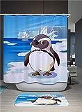Fansu Duschvorhang Wasserdicht Anti-Schimmel Anti-Bakteriell, 3D Drucken 100prozent Polyester Bad Vorhang für Badzimmer mit C-Form Kunststoff Haken (90x180cm,Grauer Pinguin)