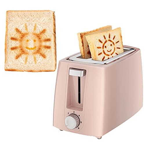 Edelstahl 2-Scheiben-Toaster Pink,High-Lift,Retro Toaster,Smiley-Muster,680W,6 Variable Bräunungseinstellungen,BPA-frei,mit sicherer Kindersicherung-Toaster