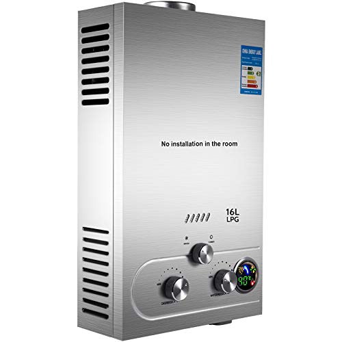 Happybuy Tankless Water Heater Propane 16L Propane Water Heater 4.3GPM 32 KW Propane Tankless WaterHeater Stainless Steel on Demand Water Heater Propane Fit for Home Outdoor RV Use