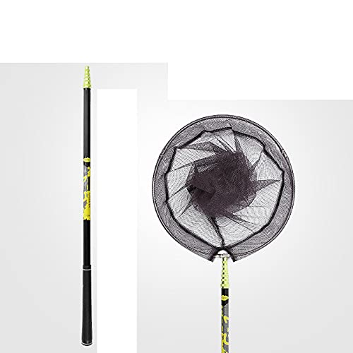 AMZYY Fishing Nets, Foldable Collapsible Extensible For Bird Fish Catch Release Lightweight Portable Rubber Carp Landing Net Black Rubberised Mesh + 4m Carbon Handle