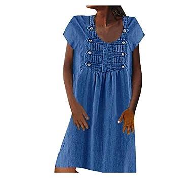 Padaleks Women's Short Sleeve V Neck Button Shirt Dress Casual Loose Solid Tunic Tops Vintage Short Mini Dresses