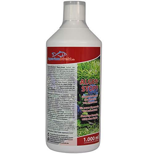 AquariumDirekt Algen-Stopp (GRATIS Lieferung in DE - Flüssiger Algenvernichter, Algenentferner für Ihr Aquarium - Stoppt und befreit nachhaltig Algenwuchs, neuartiger Rezeptur ohne Kupfer), Größe:1 L
