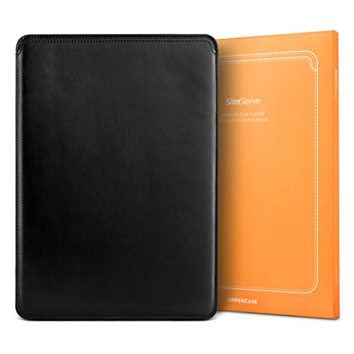 """UPPERCASE SlimSleeve Premium Vegan Leather Sleeve Pouch Case with Form Fitting Design Compatible with MacBook Pro 16"""" Only, Black"""